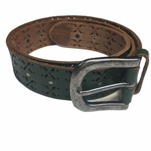 Green Leather Boho Belt with Nailhead Accents